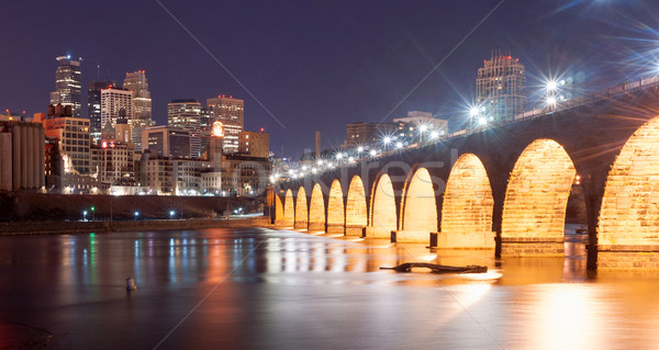 Saint Paul Minnesota Capital City Skyline Mississippi River Rams Stock photo © cboswell