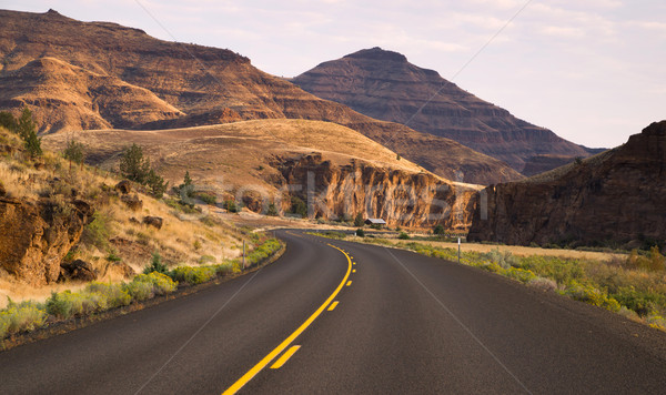 Curves Frequent Two Lane Highway John Day Fossil Beds Stock photo © cboswell