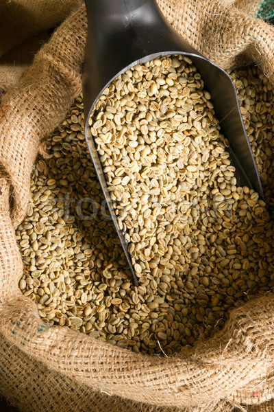 Raw Coffee Beans Seeds in Bulk Burlap Sack Production Warehouse Stock photo © cboswell