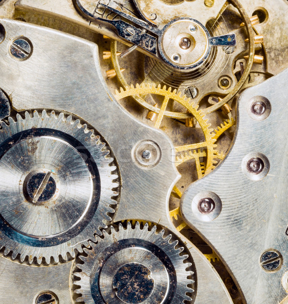 Gold Silver Antique Vintage Pocket Watch Body Gears  Stock photo © cboswell
