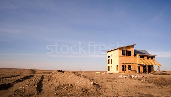 Neue Bau Häuser up schnell Norddakota Stock foto © cboswell