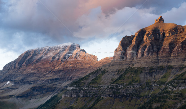 Clouds Move Over Mountains Logan's Pass Glacier National Park Stock photo © cboswell