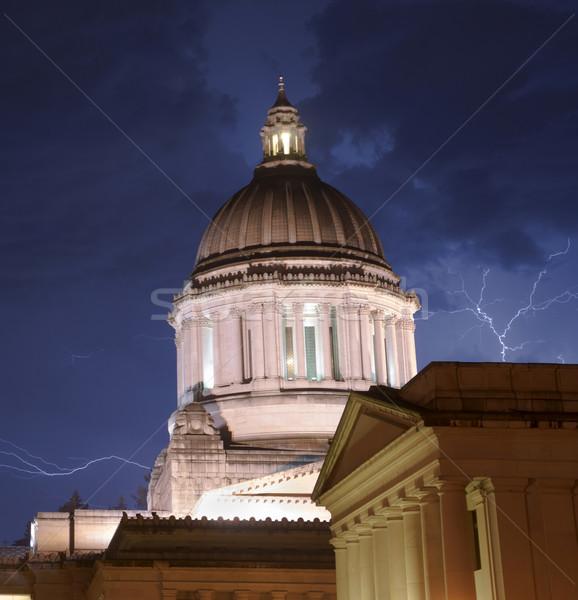 Sağanak yağmur yıldırım kubbe hükümet Bina Stok fotoğraf © cboswell