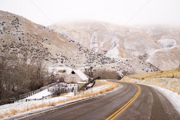 Snake River Valley Ranch Snow Falls Rural Farm House Stock photo © cboswell