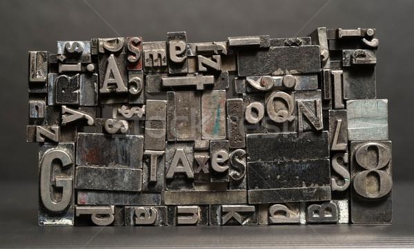 Fém nyomdagép betűkészlet adózás tipográfia Stock fotó © cboswell