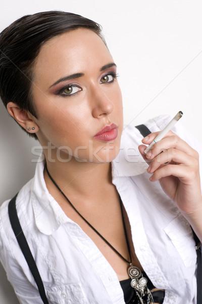 Stock fotó: Dohányos · lány · fehér · dohányzás · füst · tinédzser