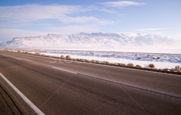 Lonesome Road Winter Freeze Utah Mountain Highway Salt Flats Stock photo © cboswell
