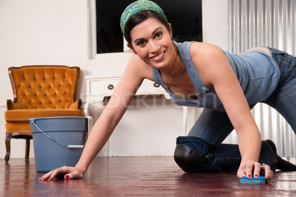 Adorable Housewife Doing Cleaning Chores Scrubbing Wood Floor  Stock photo © cboswell