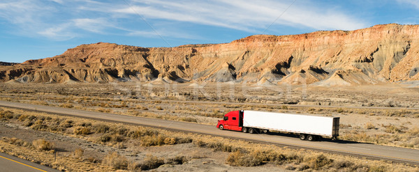 Semi Trailer Long Haul 18 Wheeler Big Rig Red Truck Stock photo © cboswell