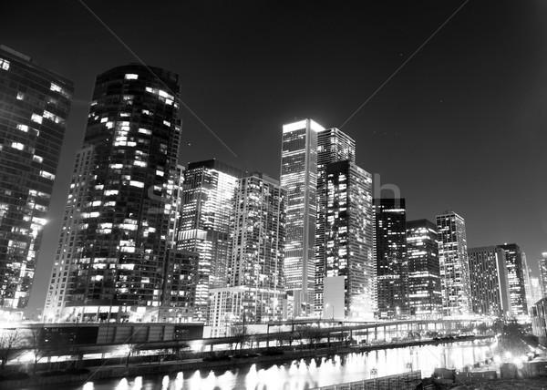 Bina nehir şehir merkezinde su ışıklar Stok fotoğraf © cboswell