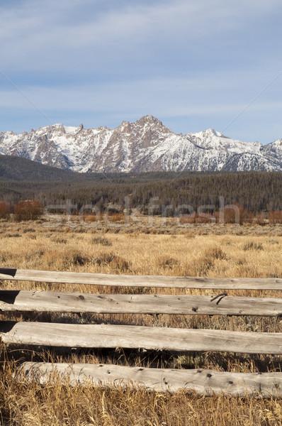Ranch Range Fence Sun Valley Idaho Sawtooth Mountain Range Stock photo © cboswell