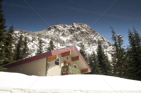 Private Lodging Ski Chalet Lodge Heavy Snow North Cascade Mounta Stock photo © cboswell