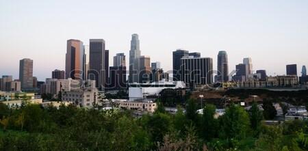 ロサンゼルス市 水平な 広い ショット スカイライン 夕暮れ ストックフォト © cboswell