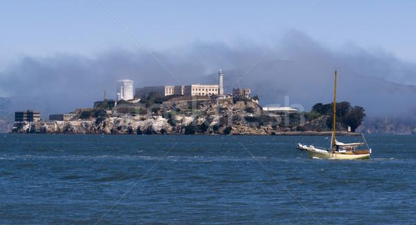 Alcatraz Island and Sailboat Stock photo © cboswell