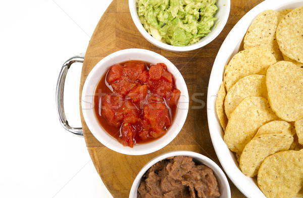 Alimentaire puces salsa fèves bois Photo stock © cboswell
