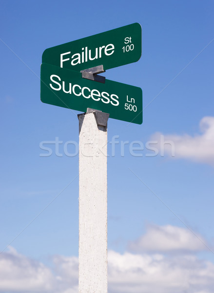 Success Signs Crossroads Failure Street Avenue Sign Blue Skies C Stock photo © cboswell