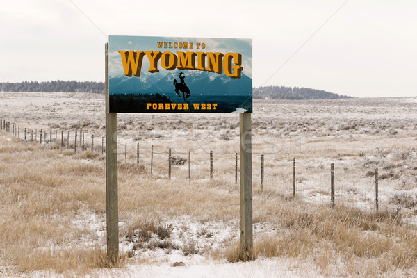 Welcome to Wyoming Forever West State Entry Sign Stock photo © cboswell