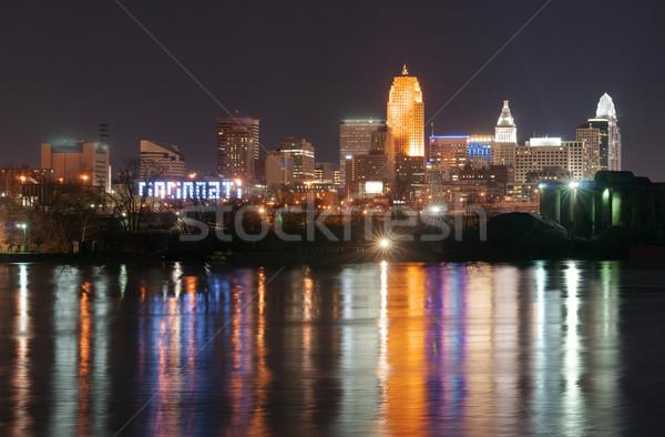 Sötét éjszaka Ohio folyó belváros városkép Stock fotó © cboswell