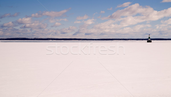Frozen Lake Michigan Solid Ice Blue Sky Nautical Beacon Stock photo © cboswell