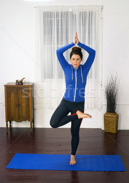 Young Attractive Woman Stands Tree Pose Blue Mat Yoga Dance Stud Stock photo © cboswell