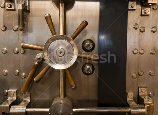 Huge Inenetrable Vintage Bank Vault Massive Handle Combination D Stock photo © cboswell