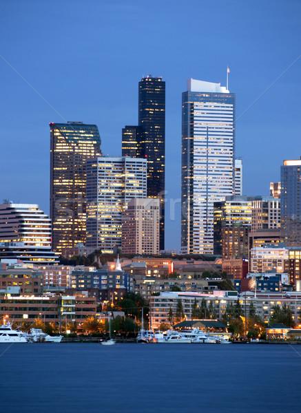 Seattle Skyline Downtown Office Buildings Nautical Transportatio Stock photo © cboswell