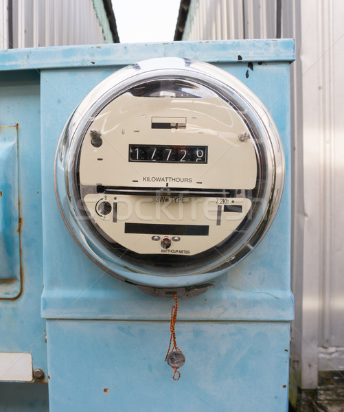 Glass Dome Watt Hour Electric Utility Meters Dock Outside Stock photo © cboswell