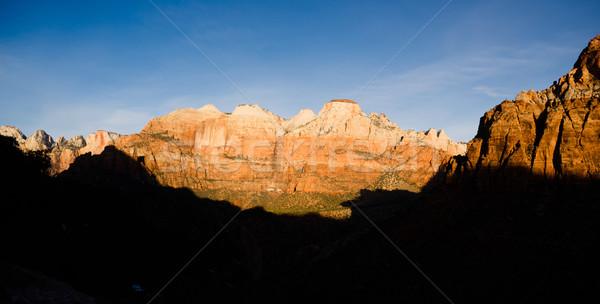 Zonsopgang hoog berg park woestijn zuidwest Stockfoto © cboswell