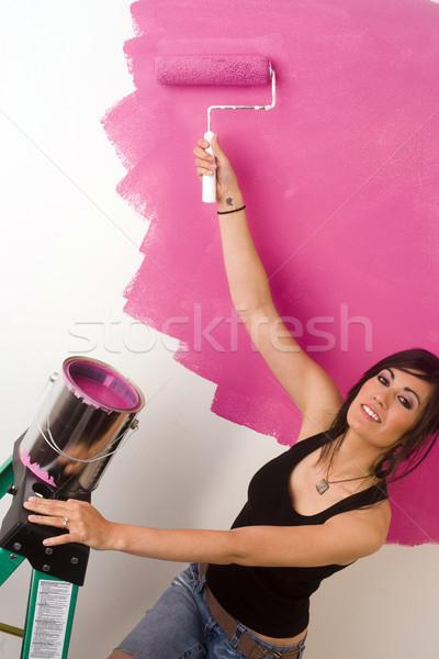 Festék falak barna hajú nő fal lakás Stock fotó © cboswell