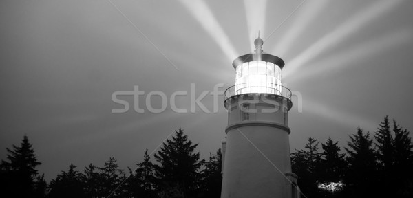 Lighthouse Beams Illumination Into Rain Storm Maritime Nautical  Stock photo © cboswell