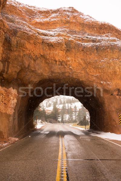 Utah Highway 12 Tunnel Through Red Canyon Winter Snow Stock photo © cboswell