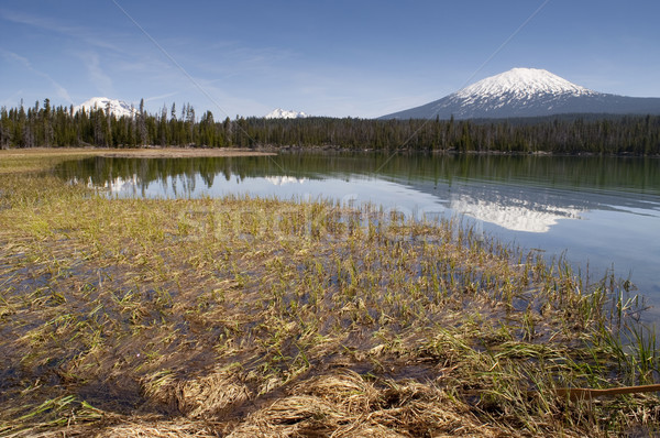 Stock photo: Saturated Color Lake Near Mt. Bachelor Oregon Cascade Range Hori