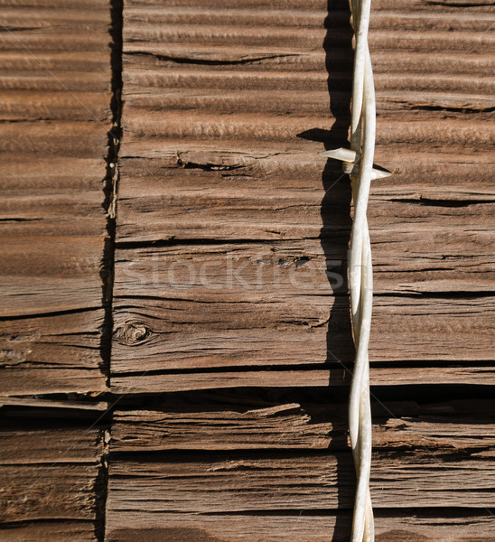 Single Barbed Wire Fence Strand Stapled Wood Fence Post Stock photo © cboswell