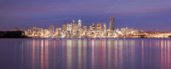Downtown Seattle Skyline Elliott Bay Puget Sound Office Building Stock photo © cboswell