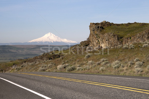 Two Lane Highway Reveals Mt Hood Cascade Range Landscape Stock photo © cboswell