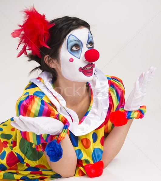 Clown Wondering Close Up Portrait Bright Beautiful Female Perfor Stock photo © cboswell