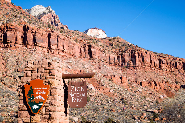 National Parks Service Entrance to Zion National Park Utah Stock photo © cboswell