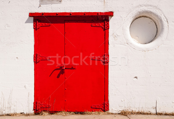 Big Red Metal Door Great Lakes Lighthouse Stock photo © cboswell