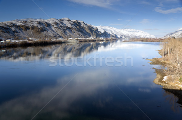 Columbia River Flows Slow After Fresh Snow Stock photo © cboswell