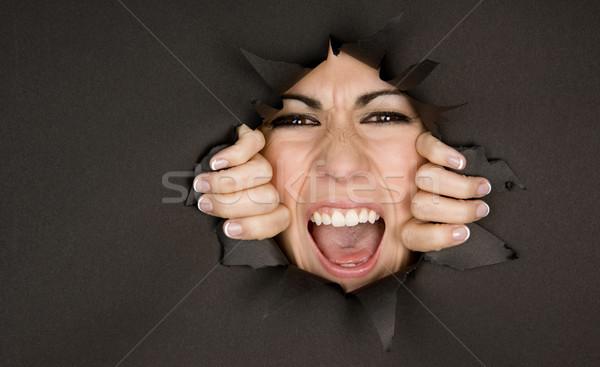 Louco menina mulher boca dentes branco Foto stock © cboswell