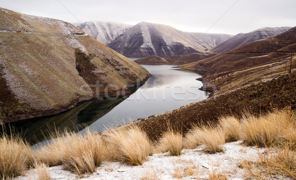 Reservoir Snake River Canyon Cold Frozen Snow Winter Travel Land Stock photo © cboswell