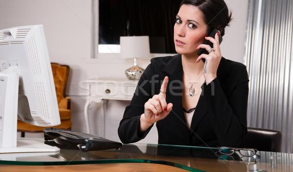 Office Worker Female Talking on Cell Phone Shaking Finger Stock photo © cboswell