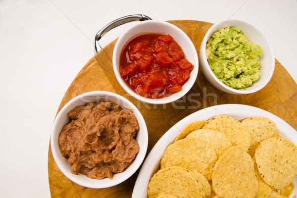 Chips Salsa Refried Beans Guacamole Nachos Food Fresh Appetizer Stock photo © cboswell