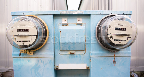 Dual Glass Dome Watt Hour Electric Utility Meters Dock Outside Stock photo © cboswell