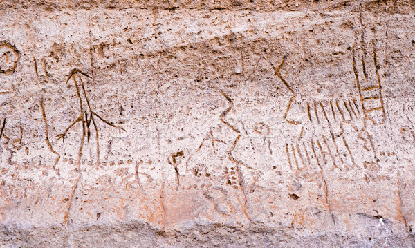Lava Beds NM Petroglyph Point Pictopraphs Ancient Modoc Cliff Ar Stock photo © cboswell