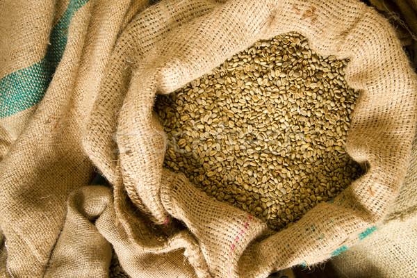 Raw Coffee Seeds Bulk Burlap Bag Agriculture Bean Produce Stock photo © cboswell