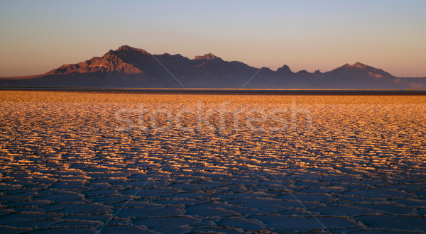 Sunset Bonneville Salt Flats Utah Silver Island Mountain Range Stock photo © cboswell