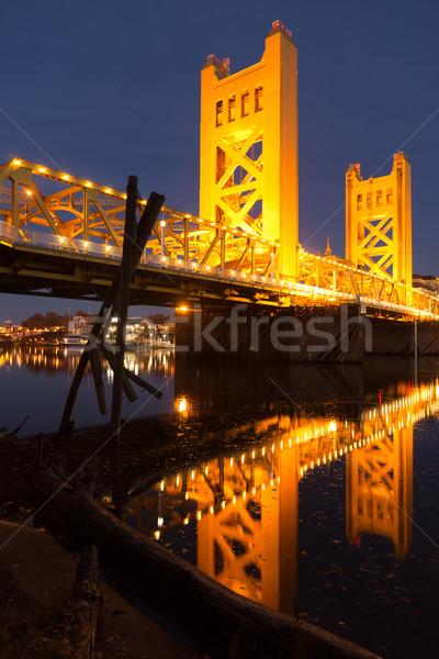 Tower Bridge Sacramento River Capital City California Downtown S Stock photo © cboswell