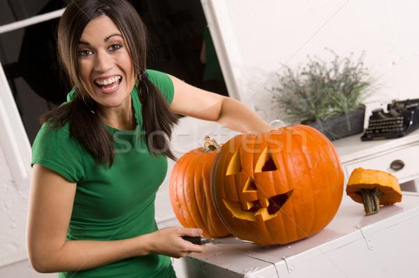 Joyful Pumpkin Carving Stock photo © cboswell