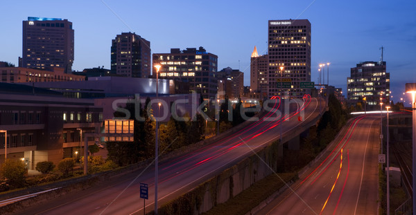 Interstate ville centre Washington Skyline crépuscule Photo stock © cboswell